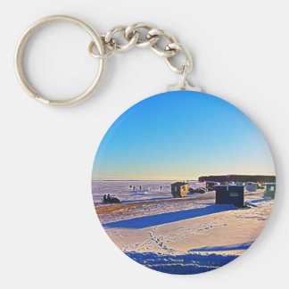 Ice Fishing collection Basic Round Button Keychain