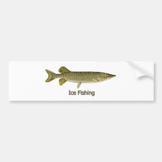 Ice Fishing Northern Pike Logo Bumper Sticker