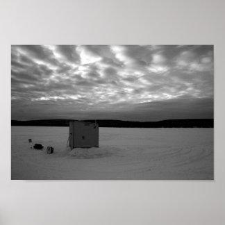 Ice Fishing Shanty, Upper Peninsula of Michigan Poster