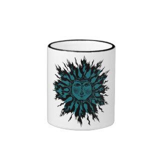 Ice Flame Sun Woodcut in Black on Mug