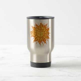 Ice Flame Sun Woodcut in Orange Travel Mug