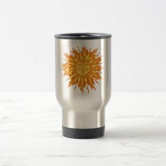 Ice Flame Sun Woodcut in Orange Travel Mug