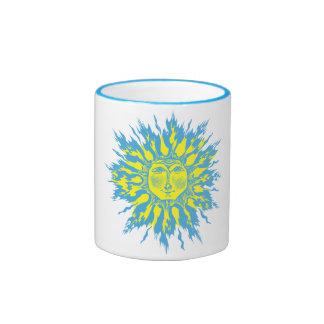 Ice Flame Sun Woodcut Mug
