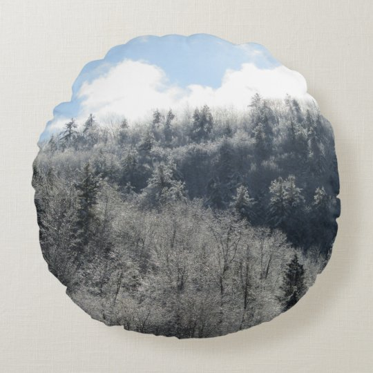Ice Glistening Forest Round Pillow