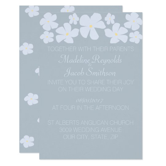 Ice Grey Jasmine Wedding Invitations