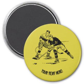 Ice hockey 3 inch round magnet