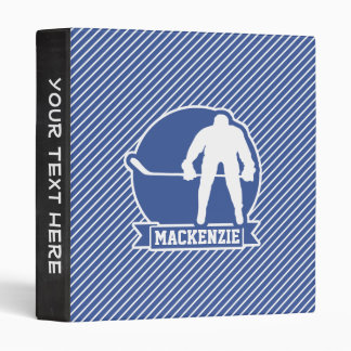 Ice Hockey, Blue & White Stripes, Sports 3 Ring Binders