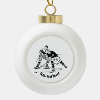 Ice hockey ceramic ball ornament