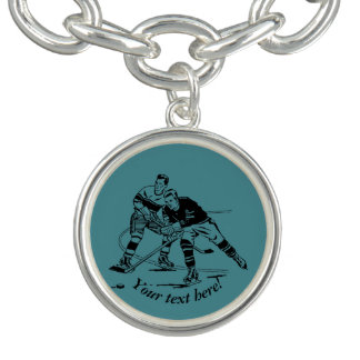 Ice hockey charm bracelet