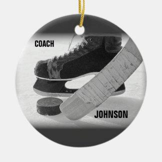 Ice Hockey Coach Thank You Ceramic Ornament