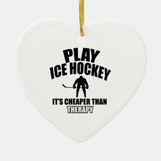 Ice hockey design ceramic ornament