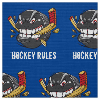Ice Hockey Fabric by the Yard, YOUR TEXT, COLORS