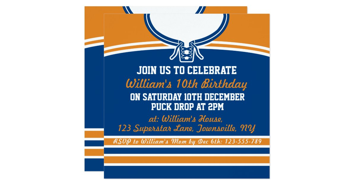 Ice hockey jersey themed party invite template zazzle stopboris Image collections