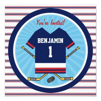 """Ice Hockey Jersey V2 1st Birthday Party 5.25"""" Square Invitation Card"""