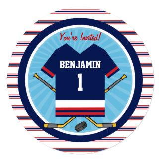 Ice Hockey Jersey V2 1st Birthday Party 5.25x5.25 Square Paper Invitation Card