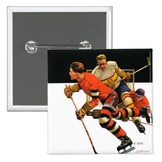 Ice Hockey Match 2 Inch Square Button