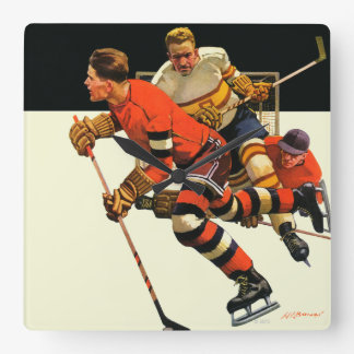 Ice Hockey Match Square Wall Clock