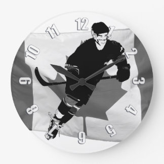 Ice Hockey Player  and Canadian Flag Large Clock