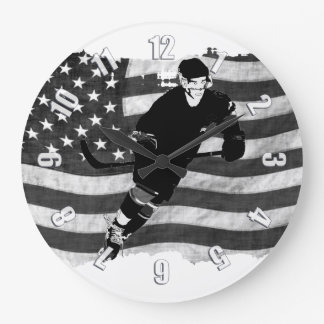Ice Hockey Player  and US Flag - Winter Sports Large Clock