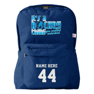 Ice Hockey Quote Name & Number Print Backpack