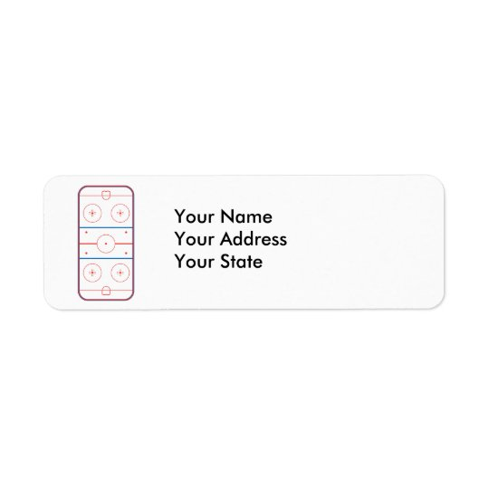 ice hockey rink graphic return address label
