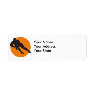 ice hockey silhouette orange circle design return address label