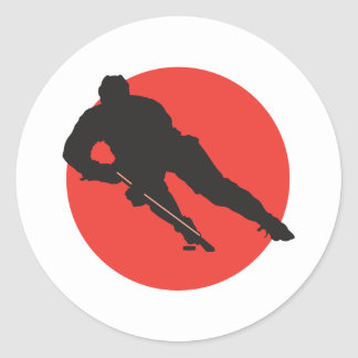 ice hockey silhouette red circle design round sticker
