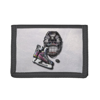 Ice Hockey Skates Helmet Puck With Name And Number Tri-fold Wallet