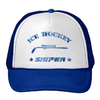 Ice Hockey Sniper Blue Camo Trucker Hat