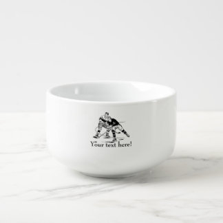 Ice hockey soup bowl with handle