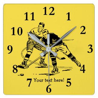 Ice hockey square wall clock