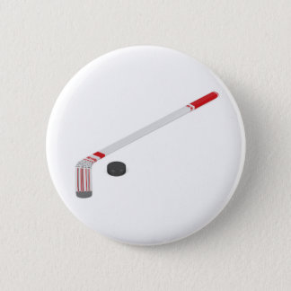 Ice hockey stick and puck 2 inch round button