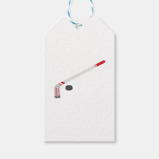 Ice hockey stick and puck gift tags