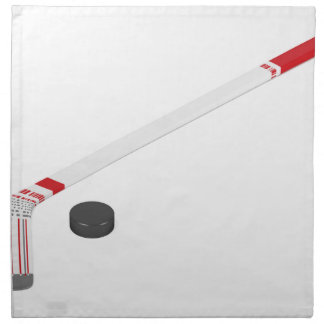 Ice hockey stick and puck napkin