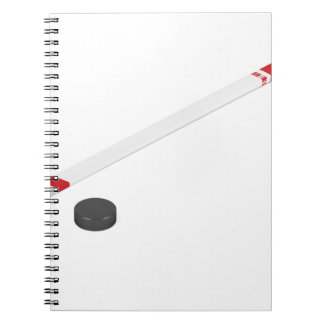 Ice hockey stick and puck notebook