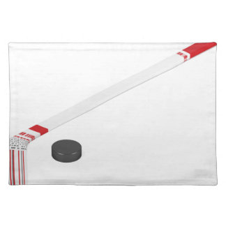 Ice hockey stick and puck placemat
