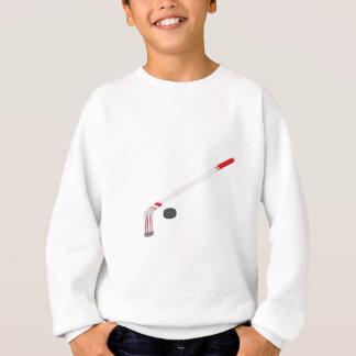 Ice hockey stick and puck sweatshirt
