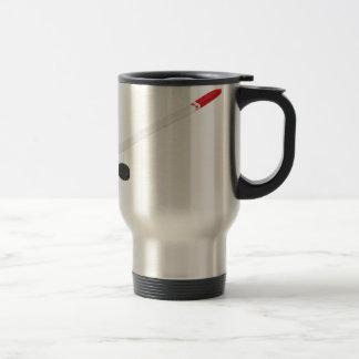 Ice hockey stick and puck travel mug