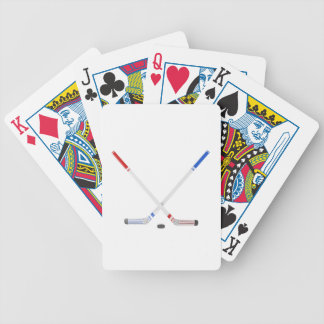 Ice hockey sticks and puck bicycle playing cards