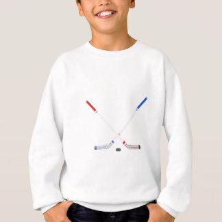 Ice hockey sticks and puck sweatshirt
