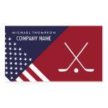 Ice Hockey Sticks On United States Flag Background Business Card