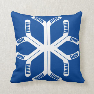 Ice Hockey Sticks Snowflake Throw Pillow