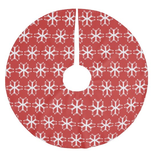 Ice Hockey Sticks Snowflake Xmas Tree Skirt