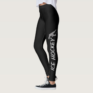 Ice Hockey Text, Hockey Player Sihouette Leggings