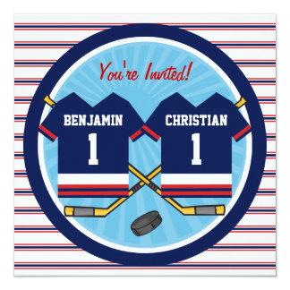 "Ice Hockey Twins Jersey V2 1st Birthday Party 5.25"" Square Invitation Card"