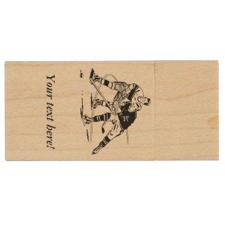 Ice hockey wood USB 3.0 flash drive