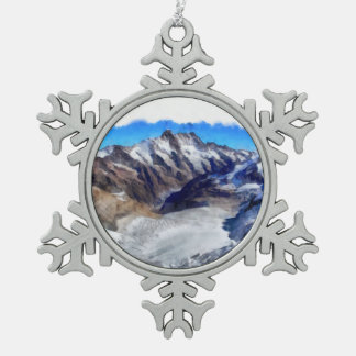 Ice in the towering Swiss Alps Snowflake Pewter Christmas Ornament