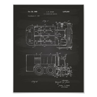 Ice Machine 1969 Patent Art - Chalkboard Poster