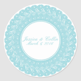 Ice/mint blue & white lace custom sticker
