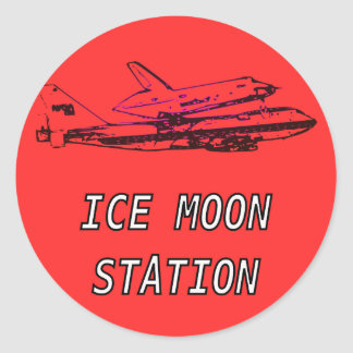 Ice Moon Station Space Shuttle Round Sticker